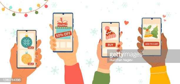 abstract christmas online shopping concept with