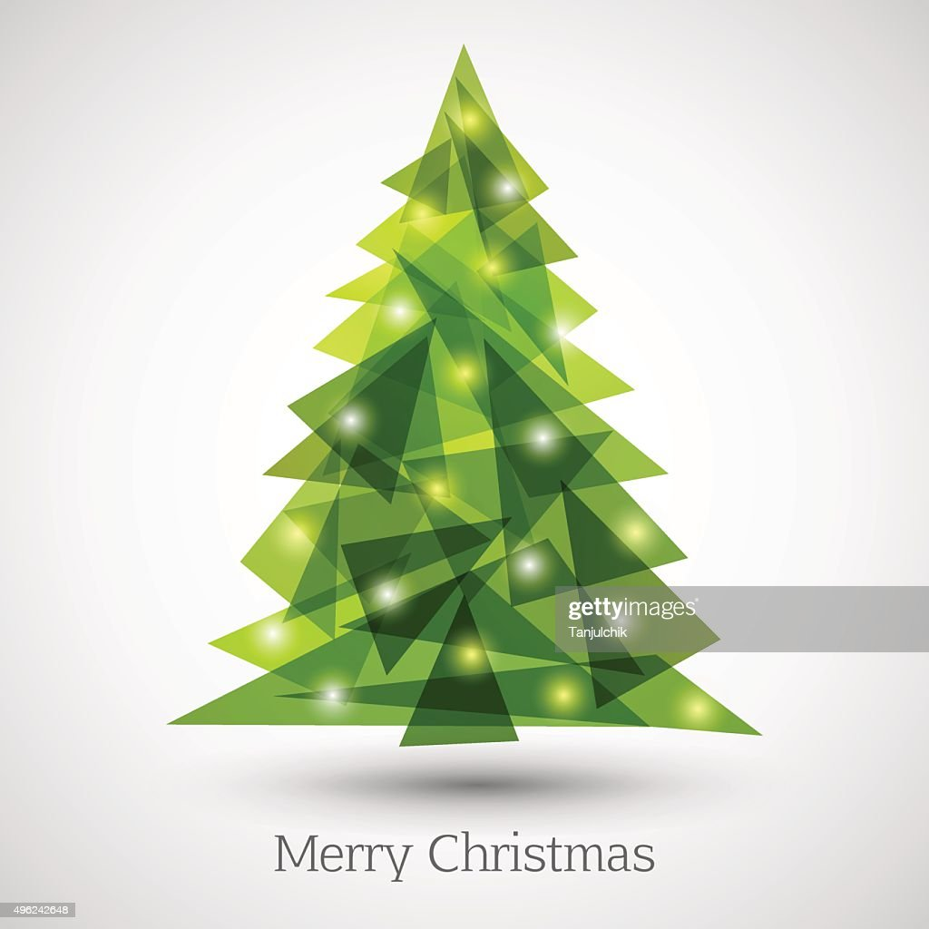 Abstract christmas tree made of green triangles
