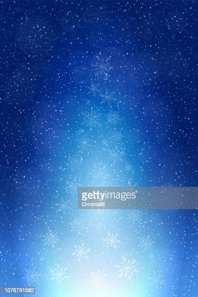 abstract christmas tree winter background: falling snow, snowflakes and light forming a christmas tree shape. - atmospheric mood stock illustrations, clip art, cartoons, & icons