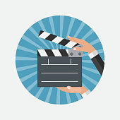 Abstract Cinema Clapper Flat Symbol Icon. Vector Illustration EP