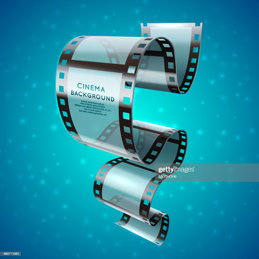 Abstract cinema retro poster with film strip roll, vector movie festival background