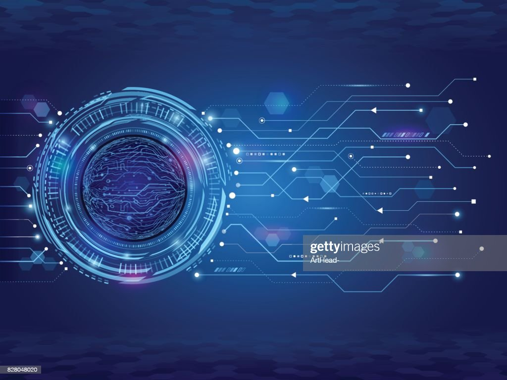 Abstract circuit technology concept. Futuristic circle elements background.