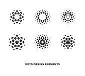 Abstract circular halftone dots forms.