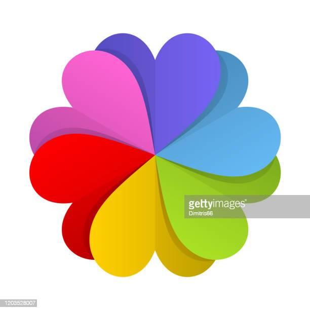 裁断の心臓から形成された抽象的な円形の形状。 - lgbtqiプライドイベント点のイラスト素材/クリップアート素材/マンガ素材/アイコン素材