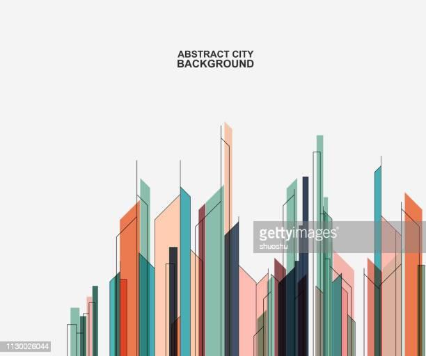 illustrazioni stock, clip art, cartoni animati e icone di tendenza di sfondo astratto della struttura dell'edificio della città - grattacielo