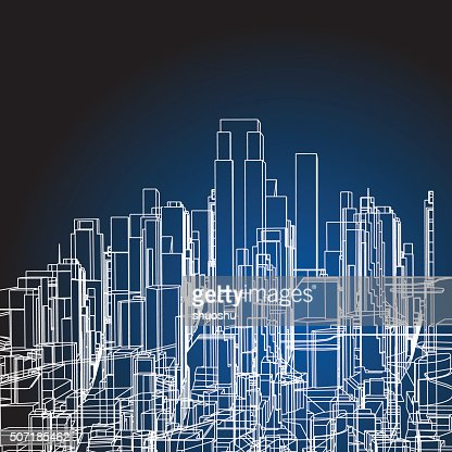 Abstract City Building Structure Background Vector Art ...