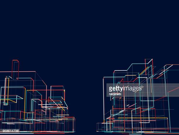 abstract city building - three dimensional stock illustrations