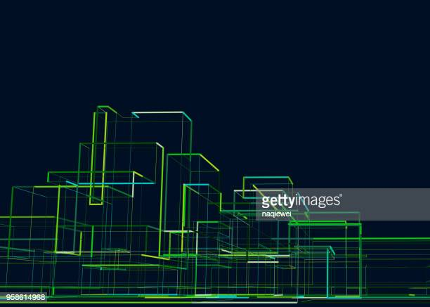 abstract city building - built structure stock illustrations