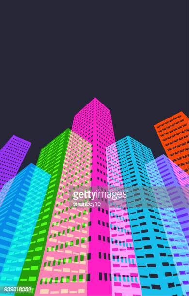 abstract city buildings - skyscraper stock illustrations