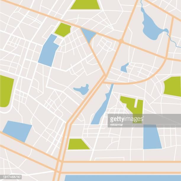 抽象都市マップのベクターイラスト。町の道路や住宅街。フラットスタイル詳細都市旅行ベクトルデザインの背景。空中写真、地図作成。 - 境界線点のイラスト素材/クリップアート素材/マンガ素材/アイコン素材
