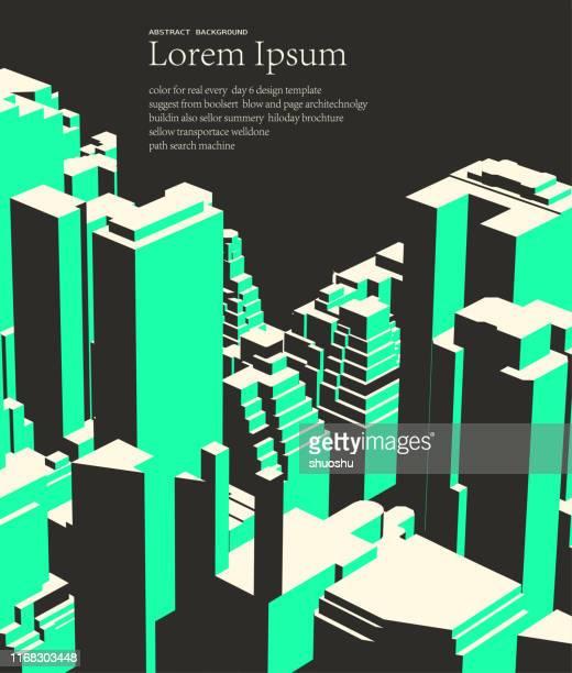 abstrakte stadt moderne bürogebäude übersehen muster plakat - leben in der stadt stock-grafiken, -clipart, -cartoons und -symbole