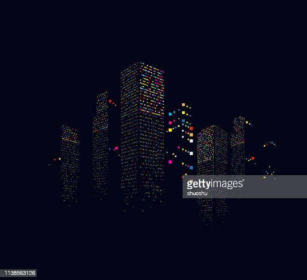 illustrations, cliparts, dessins animés et icônes de bâtiment abstrait de bureau de ville dans le fond de modèle de nuit - ville futuriste