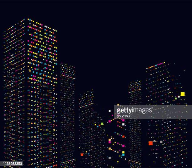 illustrazioni stock, clip art, cartoni animati e icone di tendenza di astratto edificio per uffici della città in sfondo modello notturno - illuminato