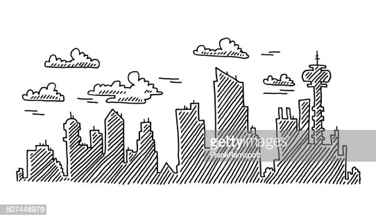 abstract city skyline drawing vector art