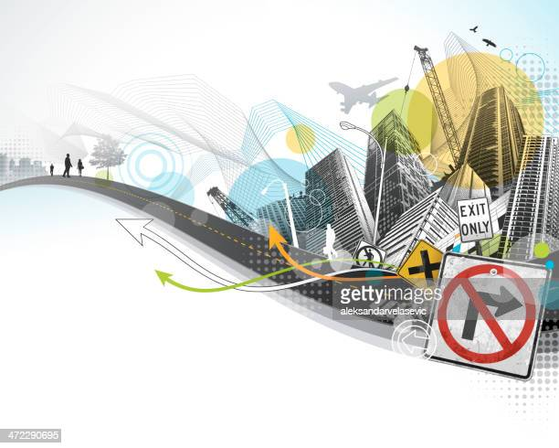 abstract city - corner of building stock illustrations, clip art, cartoons, & icons
