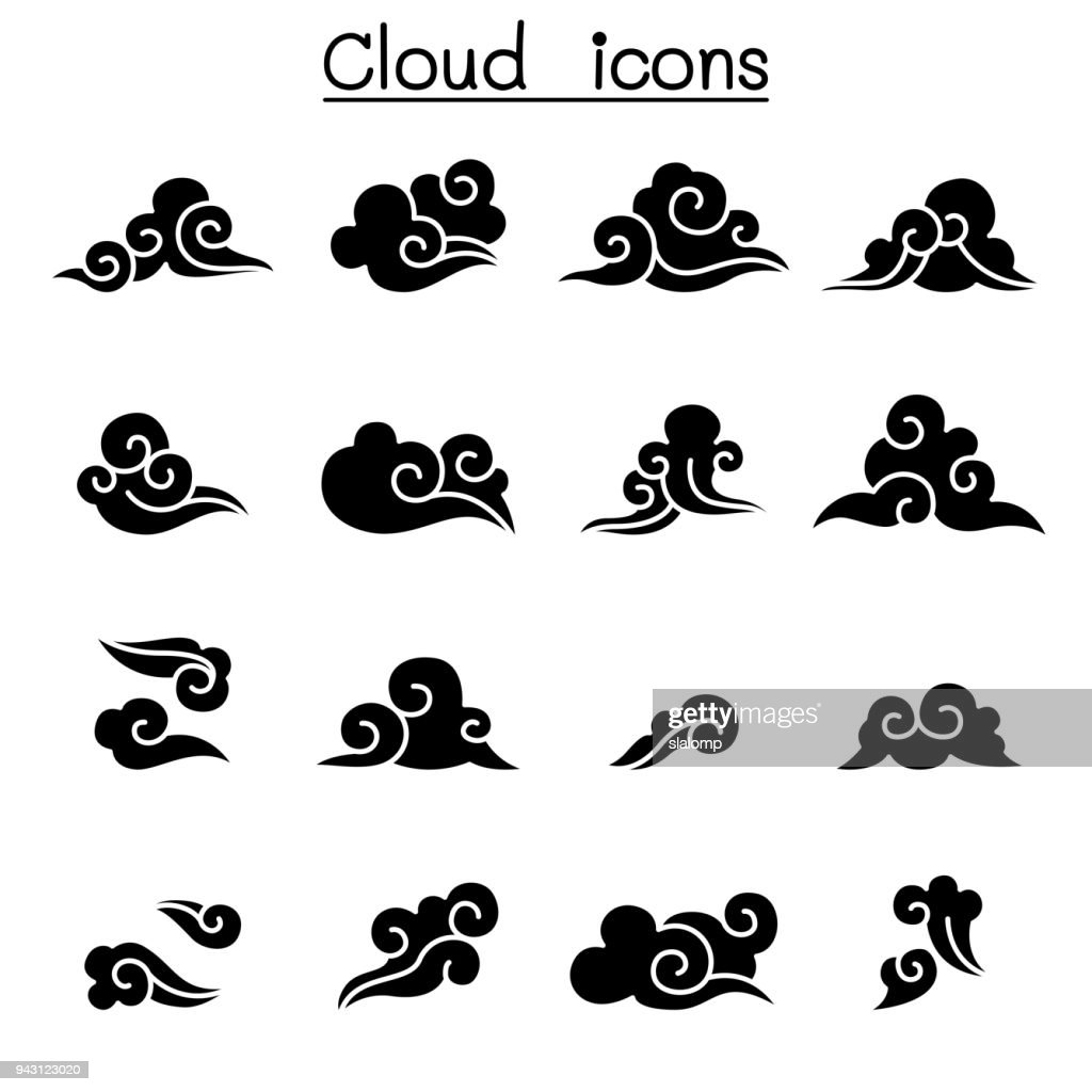 Abstract Cloud , Chinese Cloud , Curl cloud ,Decoration cloud, cloud icon set
