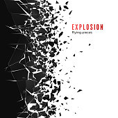 Abstract cloud of pieces and fragments after wall explosion. Shatter and destruction effect. Vector illustration