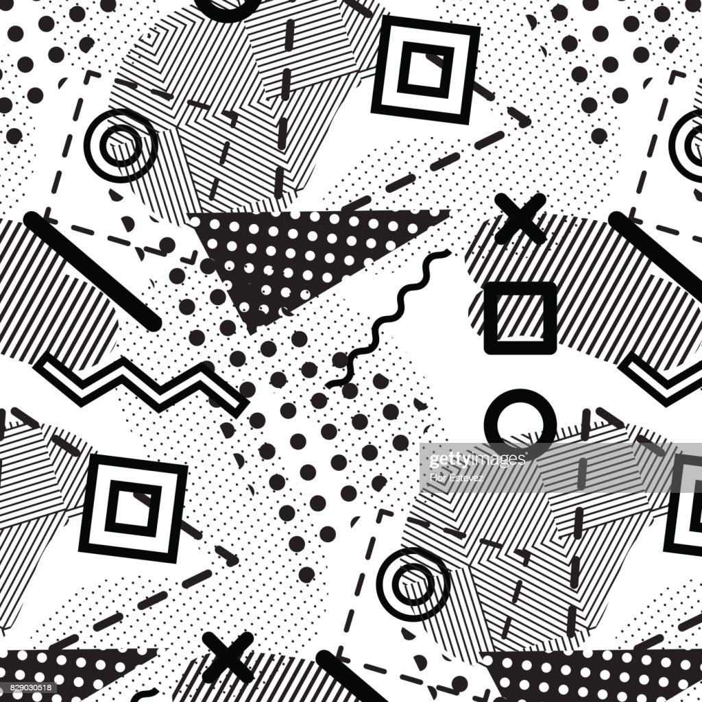 abstract collection, black and white geometric seamless pattern