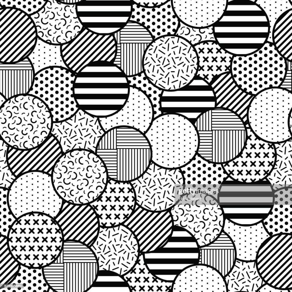 abstract collection, black and white overlapping textured circle shapes seamless pattern