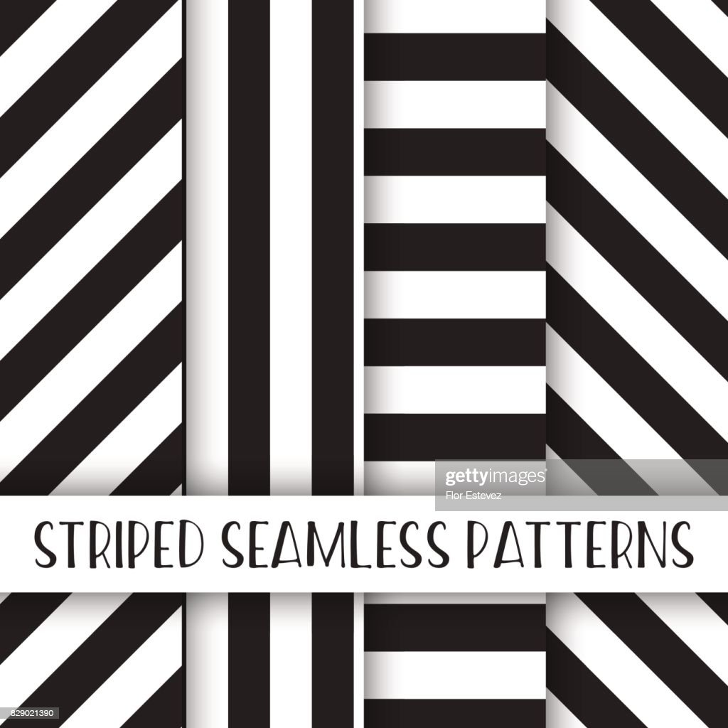 abstract collection, black and white striped seamless pattern pack