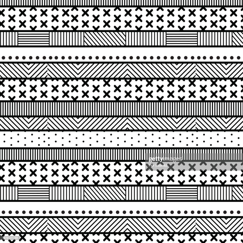 abstract collection, black and white textured striped seamless pattern