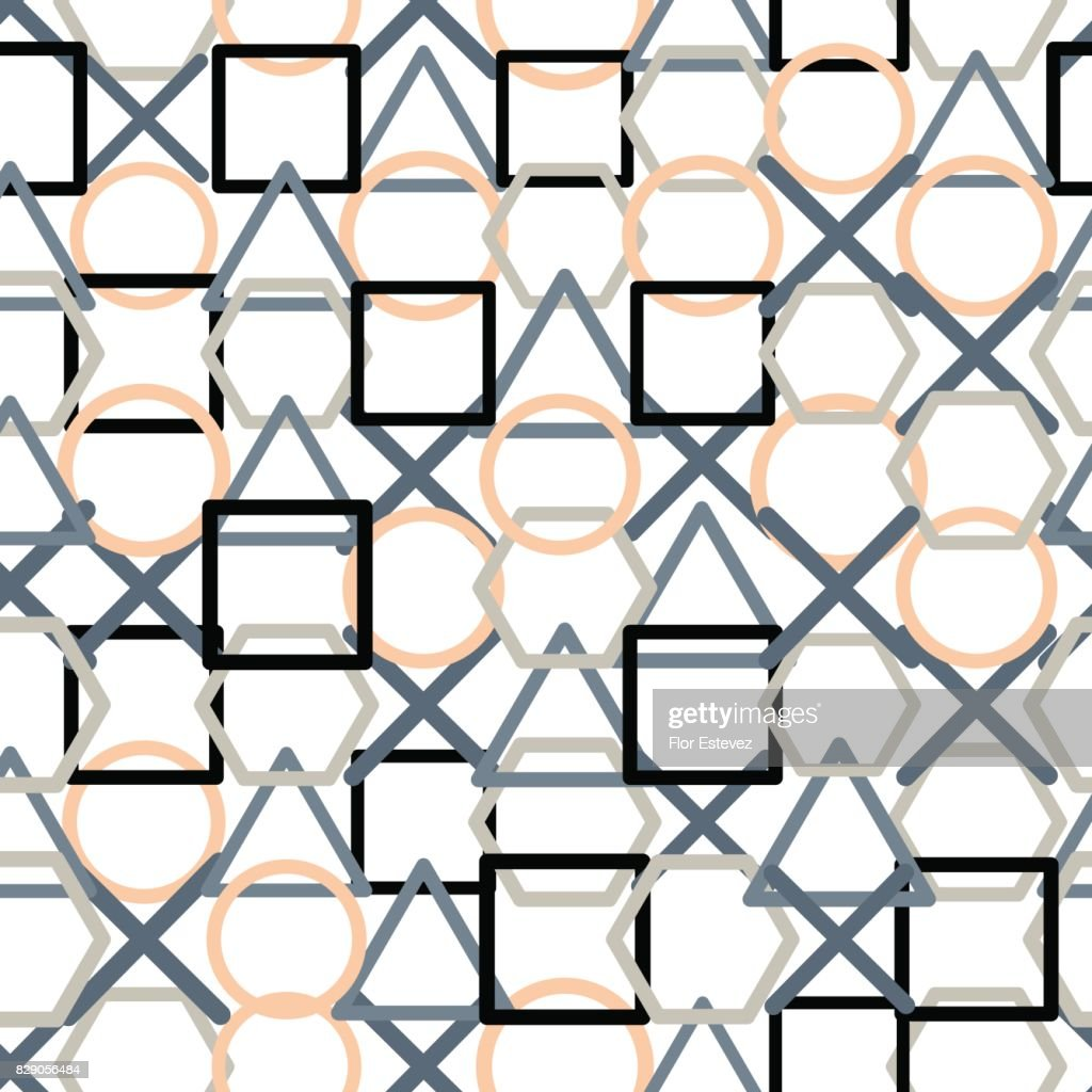 abstract collection, geometric, overlapping geometric shapes texture seamless pattern