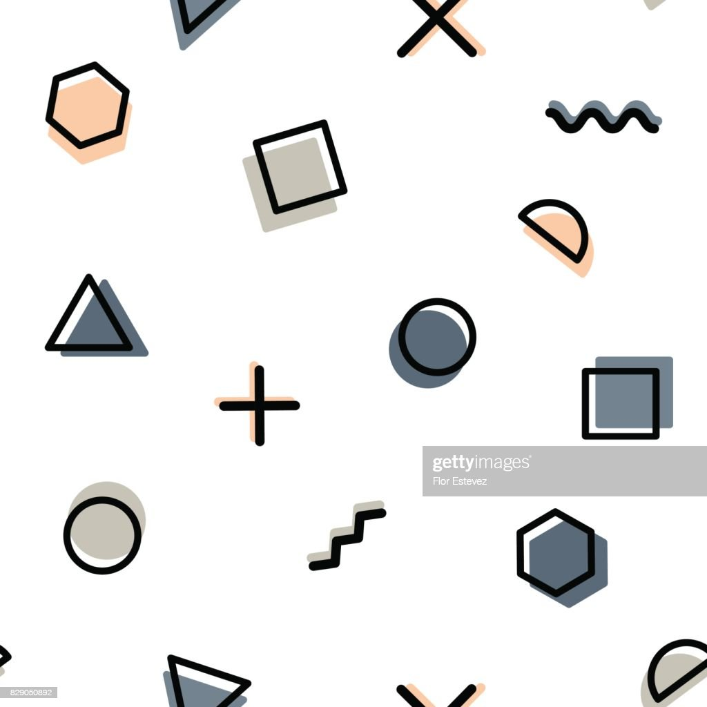 abstract collection, geometric shapes seamless pattern