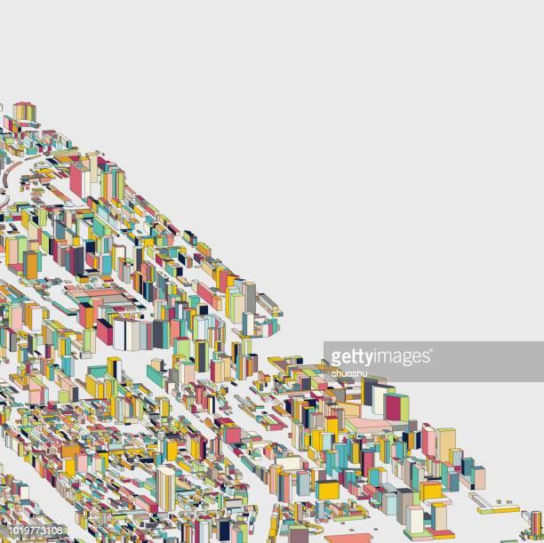 illustrations, cliparts, dessins animés et icônes de fond de structure de construction de la ville 3d abstrait couleur - ville futuriste