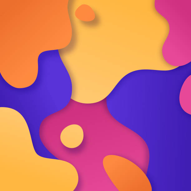 abstract color blobs background - melting stock illustrations