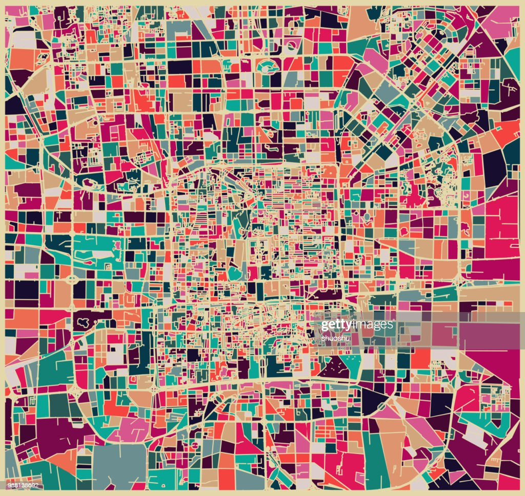 abstract color lump pattern,art map of Beijing city : stock illustration
