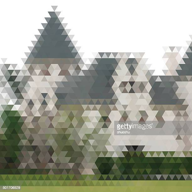 abstract color triangle style castle building pattern background
