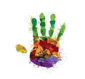 Abstract colored hand print