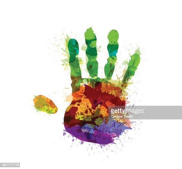 ilustraciones, imágenes clip art, dibujos animados e iconos de stock de resumen mano colores impresión - huella de mano