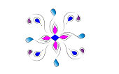Abstract colorful alpona design with white background.vector.