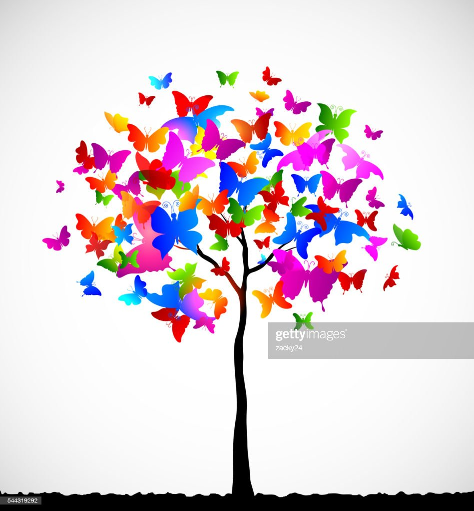 Abstract colorful background with butterflies
