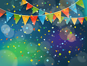 Abstract colorful background with confetti and color flags. Vector illustration