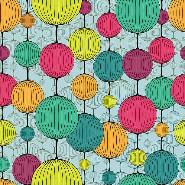 Abstract colorful chaplet seamless pattern