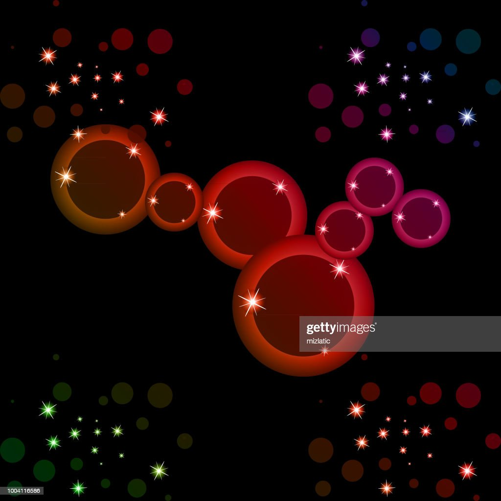 Abstract colorful circle and stars background