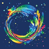 Abstract colorful circle frame on blue background