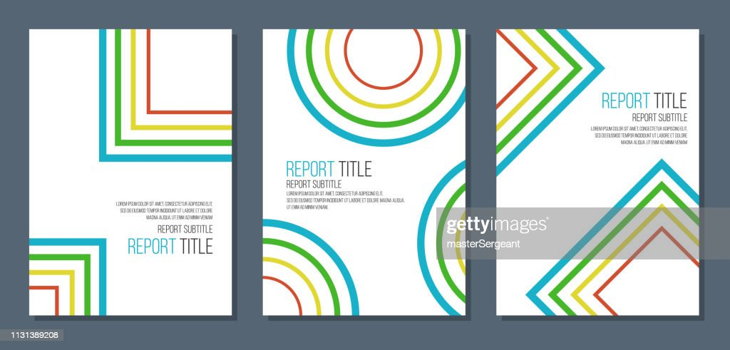 abstract colorful concentric circles squares and rhombus, retro style simple covers mockup