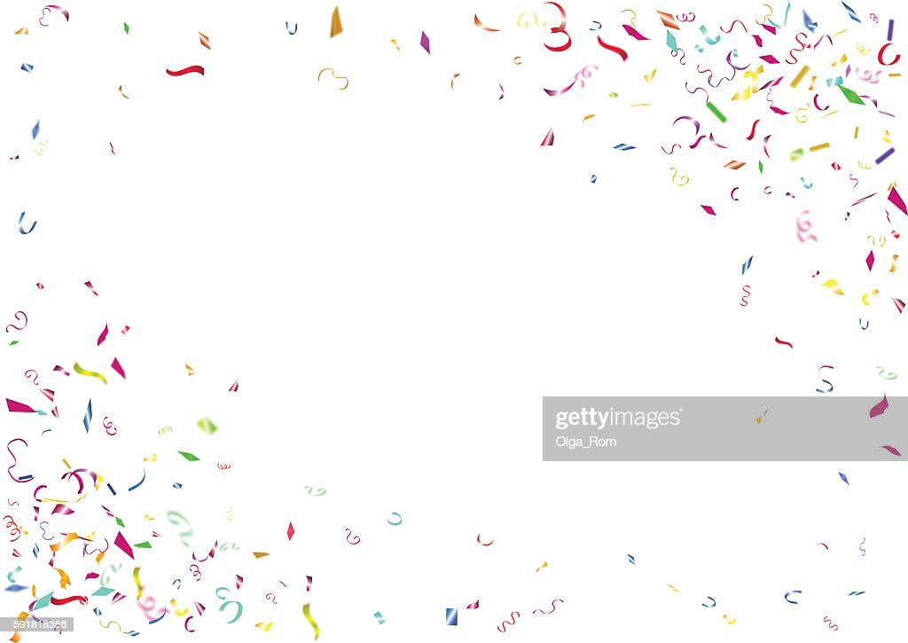Abstract colorful confetti background. Isolated on the white background.