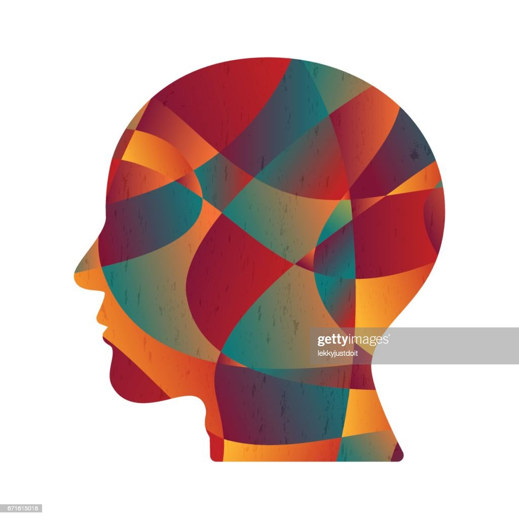 Abstract Colorful Curve Shape Human Head Stock Illustration