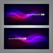 Abstract colorful dynamic elements, shiny space. Website header or banner set. Vector illustration