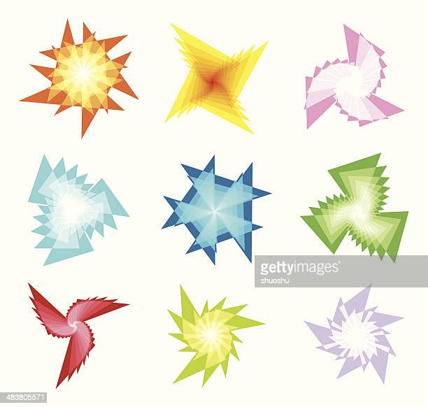 abstract colorful fractal shape - spiked stock illustrations, clip art, cartoons, & icons