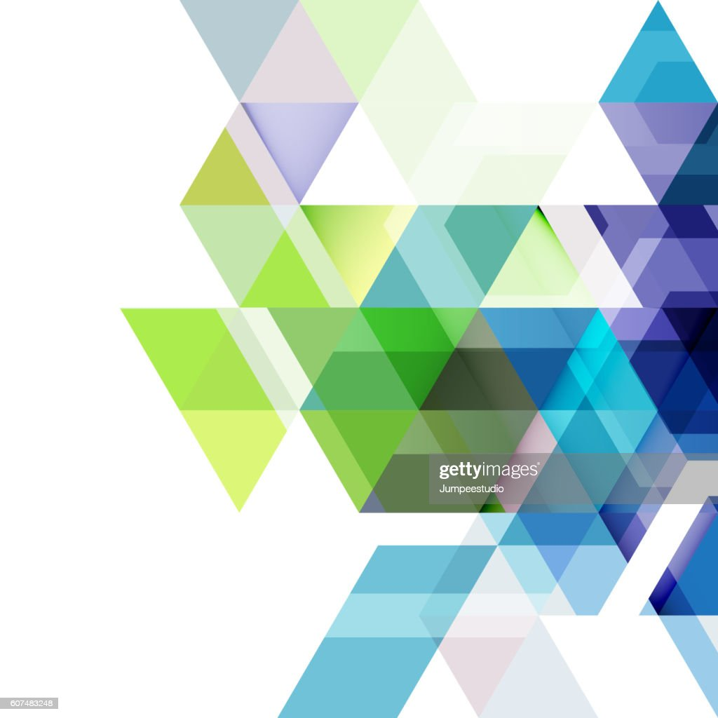 Abstract colorful geometric and modern overlapping triangles on white