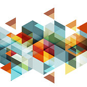 Abstract colorful geometric and modern overlapping triangles on white.