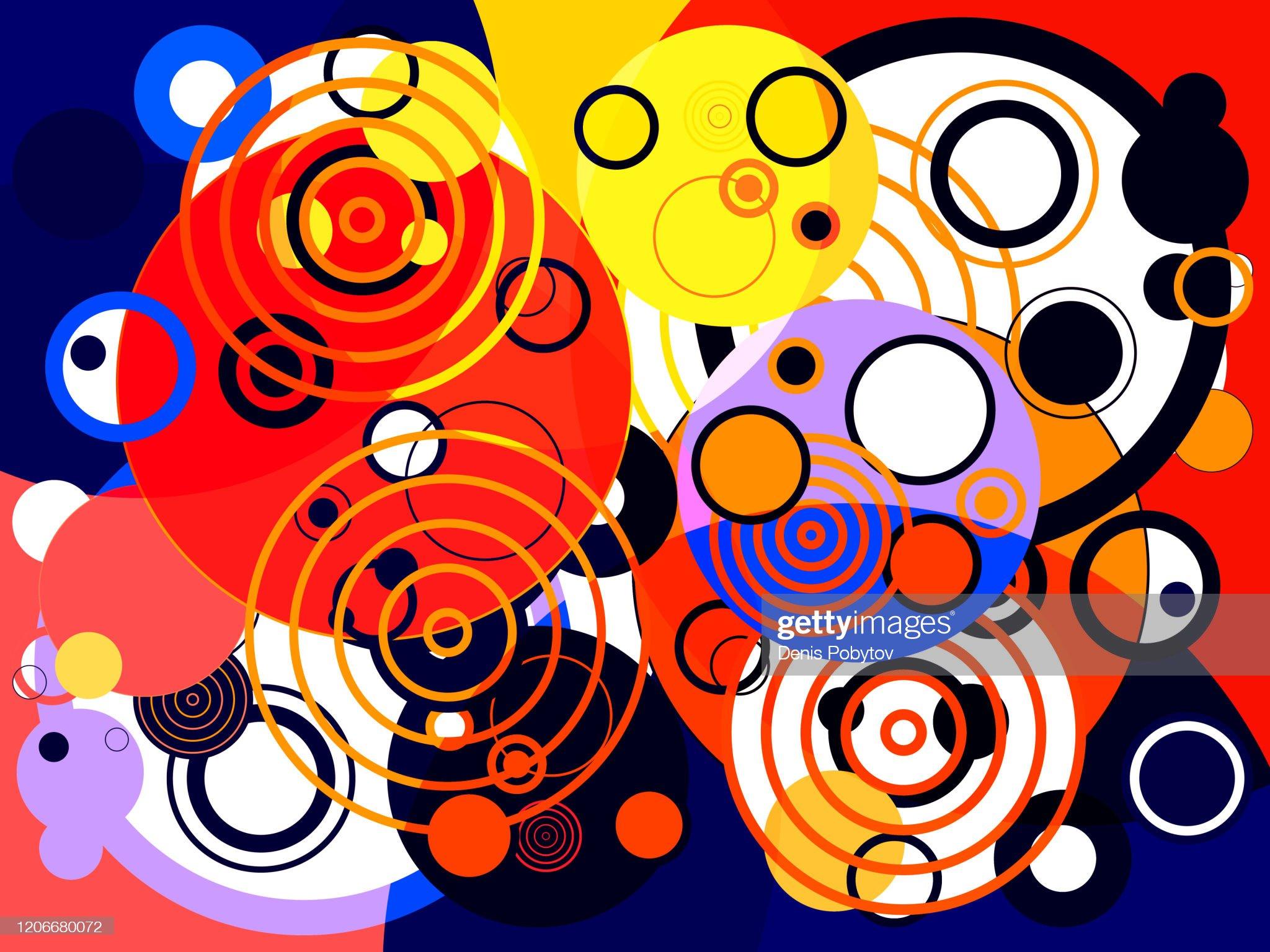 抽象五顏六色的幾何現代藝術 - 圓形和戒指。 : 插圖檔