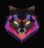 Abstract colorful geometric polygonal wolf head