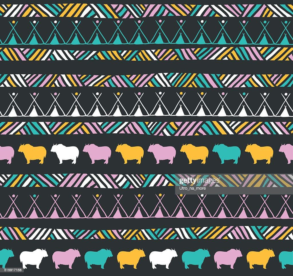 Abstract colorful geometric seamless pattern. Ethnic decorative background.