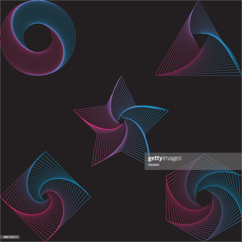 Abstract colorful gradient line art shapes
